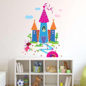 Waterproof Cartoon Castle Pattern Wall Decals Kids Room -