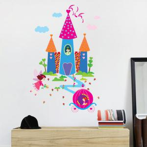 Waterproof Cartoon Castle Pattern Wall Decals Kids Room - COLORFUL
