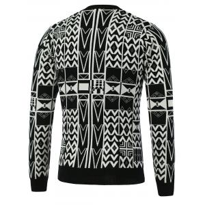 Geometric Pattern V-Neck Single-Breasted Cardigan -