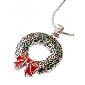 Alloy Bows Circle Christmas Pendant Necklace -