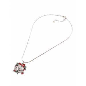 Alloy Bows Christmas Bell Pendant Necklace -