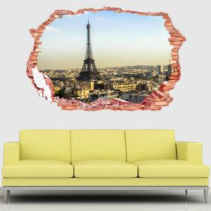 3D Stereo Removable Eiffel Tower Landscape Wall Stickers -