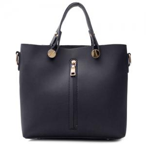 Zip Metal Embellished PU Leather Handbag - BLACK