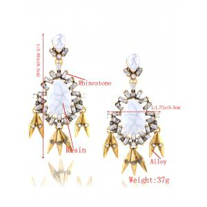 Rhinestone Water Drop Leaf Layered Earrings -