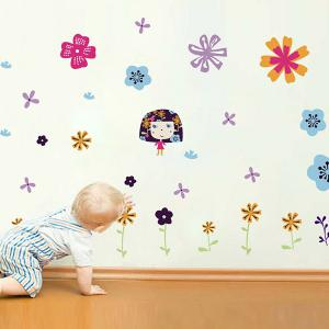Colorful Floral Pattern Wall Decals Kids Room - COLORFUL