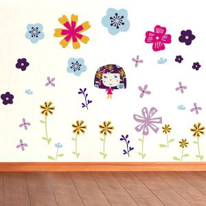 Colorful Floral Pattern Wall Decals Kids Room -