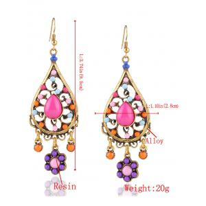 Floral Water Drop Beads Layered Earrings -