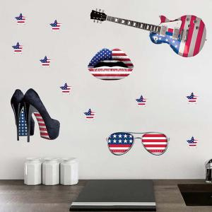 3D Stereo Removable Accessory Flag Design Living Room Wall Stickers - BLUE AND RED