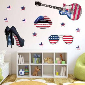 3D Stereo Removable Accessory Flag Design Living Room Wall Stickers - BLUE/RED
