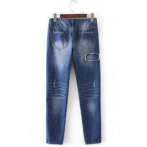 Patched Rough Selvedge Tapered Jeans - DENIM BLUE L