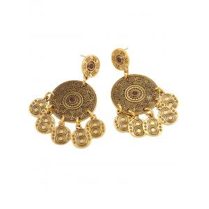 Vintage Engraved Alloy Circle Earrings -
