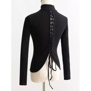 Lace-Up Mock Neck Knitted Sweater - BLACK M