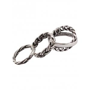 Vintage Alloy Braid Circle Rings -