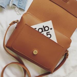 Strap PU Leather Crossbody Bag - BROWN