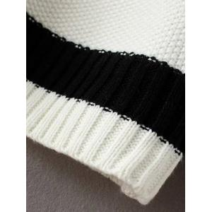 Knit Cable Color Block Sweater - WHITE ONE SIZE