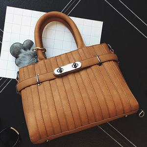 Stitching Pompon PU Leather Tote -