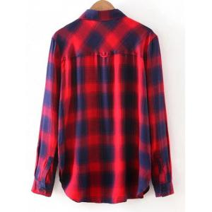 Button Up Pocket Loose Checked Shirt - RED S