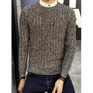 Crew Neck Ribbed Knitted Heather Sweater - GRAY 3XL