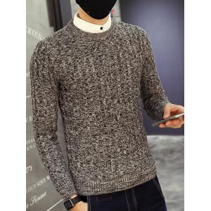 Crew Neck Ribbed Knitted Heather Sweater -