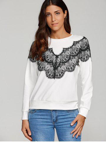 Trendy Lace Embellished Pullover Sweatshirt