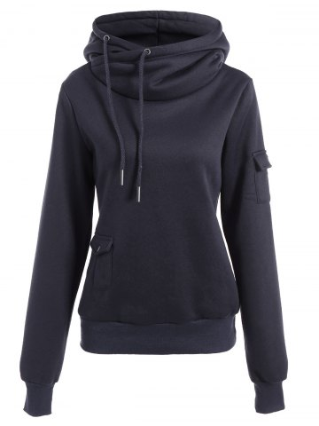 Fashionable Irregular Hooded Solid Color Buttoned Hoodie For Women - Deep Blue - S