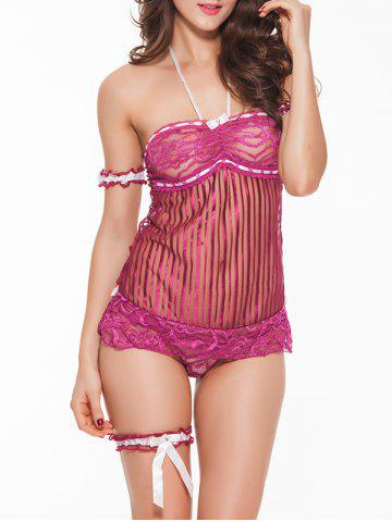 Buy Sheer Halter Bandeau Babydoll With Lace Bracelet PURPLISH RED XL