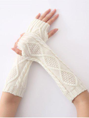 Diamant Winter Christmas évider Crochet Knit Manchettes Blanc