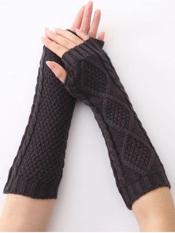 Chic Christmas Winter Diamond Hollow Out Crochet Knit Arm Warmers DEEP GRAY