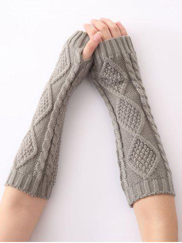 Discount Christmas Winter Diamond Hollow Out Crochet Knit Arm Warmers - LIGHT GRAY  Mobile