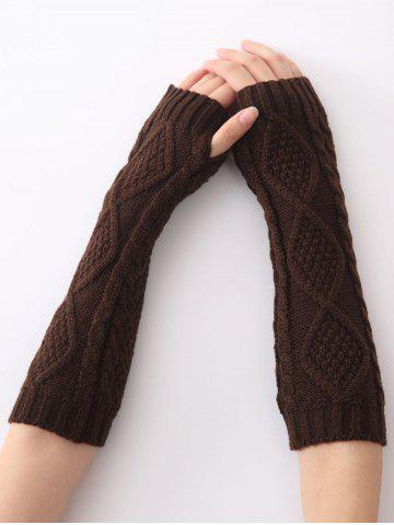Christmas Winter Diamond Hollow Out Crochet Knit Arm Warmers - COFFEE