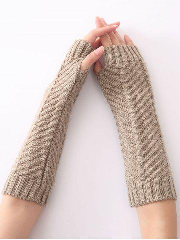 Outfit Christmas Winter Fishbone Crochet Knit Arm Warmers LIGHT GRAY
