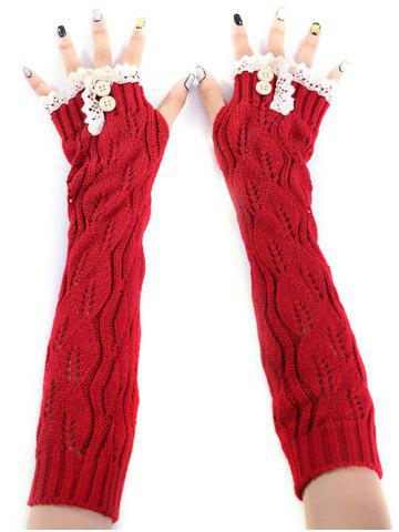 Discount Christmas Winter Lace Buttons Hollow Out Crochet Knit Arm Warmers RED