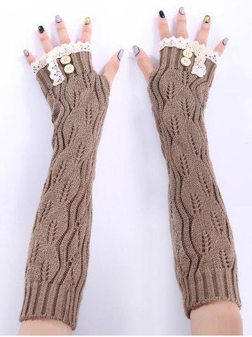 Outfits Christmas Winter Lace Buttons Hollow Out Crochet Knit Arm Warmers - KHAKI  Mobile