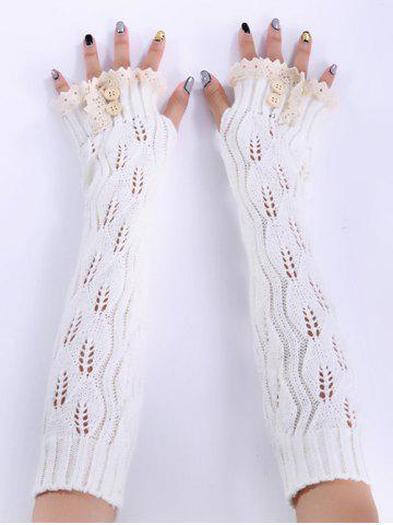 Fashion Christmas Winter Lace Buttons Hollow Out Crochet Knit Arm Warmers