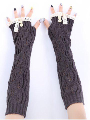 Christmas Winter Lace Buttons Hollow Out Crochet Knit Arm Warmers - DEEP GRAY