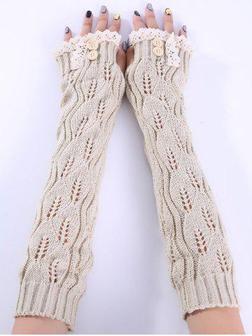 Online Christmas Winter Lace Buttons Hollow Out Crochet Knit Arm Warmers