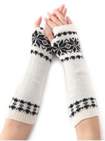 Outfits Winter Warm Christmas Snow Floral Crochet Knit Arm Warmers - WHITE  Mobile