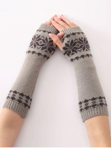 Fashion Winter Warm Christmas Snow Floral Crochet Knit Arm Warmers - LIGHT GRAY  Mobile