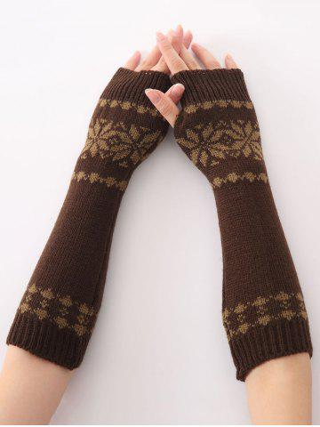Cheap Winter Warm Christmas Snow Floral Crochet Knit Arm Warmers COFFEE