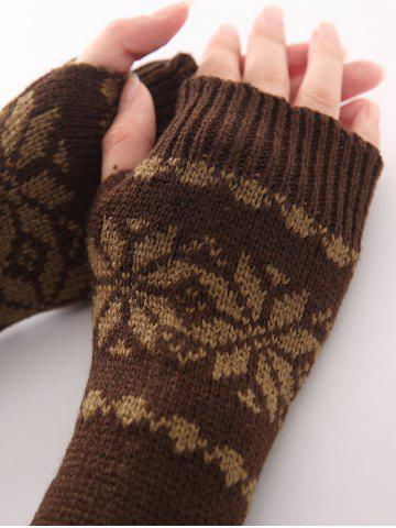 Outfit Winter Warm Christmas Snow Floral Crochet Knit Arm Warmers - COFFEE  Mobile