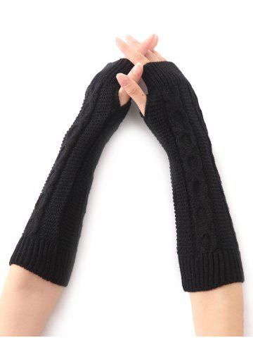 Outfit Hemp Decorative Pattern Christmas Crochet Knit Arm Warmers - BLACK  Mobile