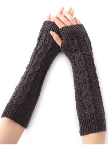 Online Hemp Decorative Pattern Christmas Crochet Knit Arm Warmers - DEEP GRAY  Mobile