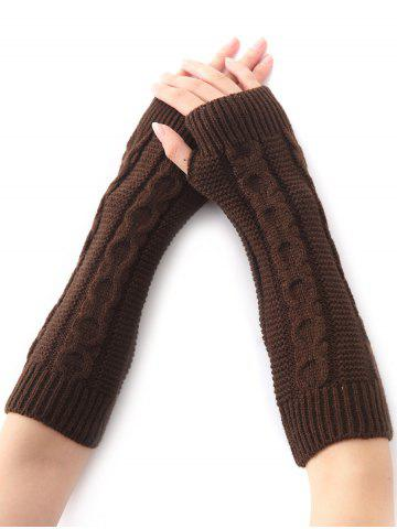 Shop Hemp Decorative Pattern Christmas Crochet Knit Arm Warmers - COFFEE  Mobile
