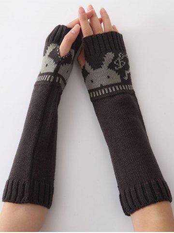 Shops Christmas Winter Rabbit Head Hollow Out Crochet Knit Arm Warmers - DEEP GRAY  Mobile