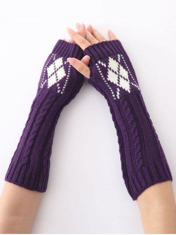 Store Hemp Decorative Pattern Diamond Christmas Crochet Knit Arm Warmers PURPLE