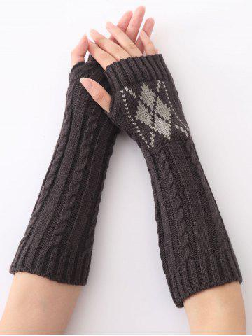 Unique Hemp Decorative Pattern Diamond Christmas Crochet Knit Arm Warmers DEEP GRAY
