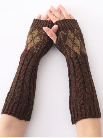 Shops Hemp Decorative Pattern Diamond Christmas Crochet Knit Arm Warmers - COFFEE  Mobile
