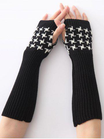 Outfit Christmas Winter Vertical Stripe Plover Case Crochet Knit Arm Warmers BLACK