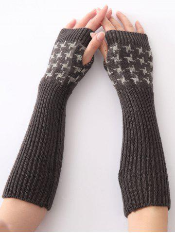 Store Christmas Winter Vertical Stripe Plover Case Crochet Knit Arm Warmers - DEEP GRAY  Mobile