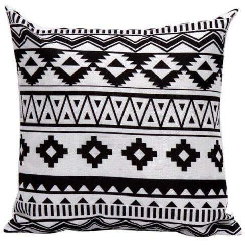 Cheap Soft Decorative Geometrics Pattern Sofa Bed Pillow Case WHITE AND BLACK